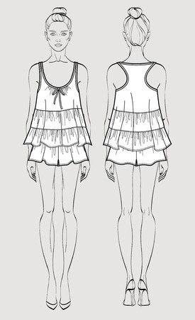 Silk pajama set on female figure. Romantic top and shorts. Isolated vector. Front and back views. Vector Illustration