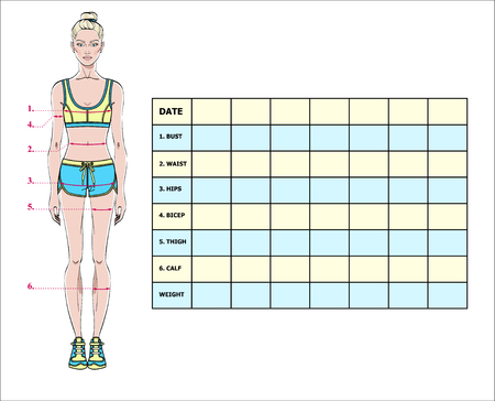 Measurement chart of the body parameters for sport and diet effect tracking. Blank weight loss table layout. Chest, waist, hips, arms, thighs measurements recording. Vector illustration. Archivio Fotografico - 97128734