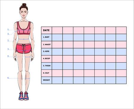 Diagramma di misurazione dei parametri corporei per il monitoraggio degli effetti sportivi e dietetici. Layout della tabella di perdita di peso in bianco. Registrazione misure torace, vita, fianchi, braccia, cosce. Illustrazione vettoriale