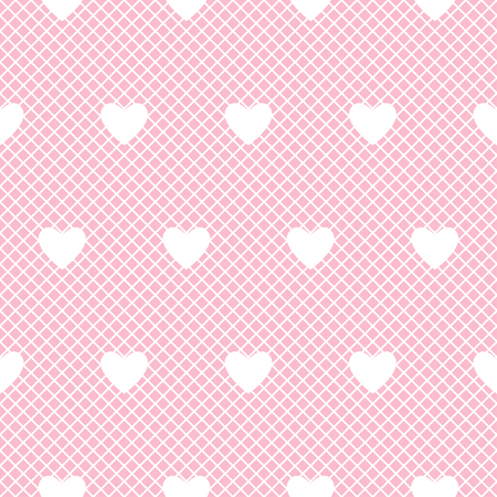 Seamless white lace pattern with hearts on pink background. Vector illustration. Illustration