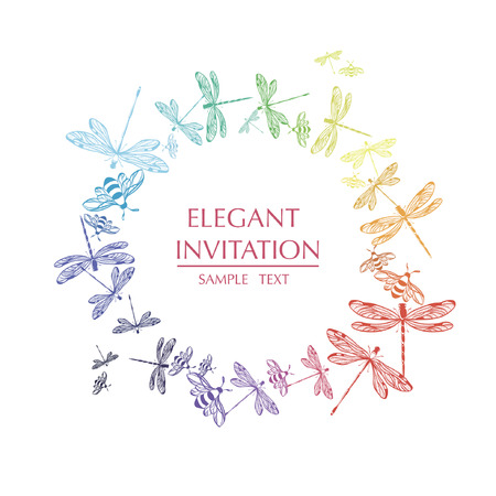 Vector round frame with dragonflies. Decorative circle with dragonflies and text.