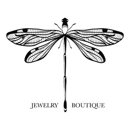 Vector logotype for jewelry boutique, store, shop. Elegant dragonfly silhouette at white background. Outline of dragonfly. Can be used for postcard, print, logo, poster, label.