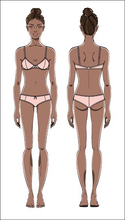 Female figure in underwear: front and back. Young african american woman.Human body in linear style. Color vector.
