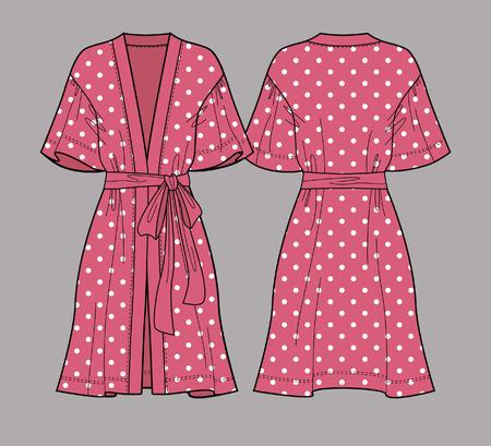 Polka dot print robe. Sleeve satin kimono robe. Silk bathrobe for women. Isolated vector. Front and back views.