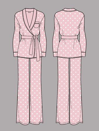 Polka dot print silk pajama. Pink cardigan and pants. Isolated vector. Front and back views. Vector Illustration