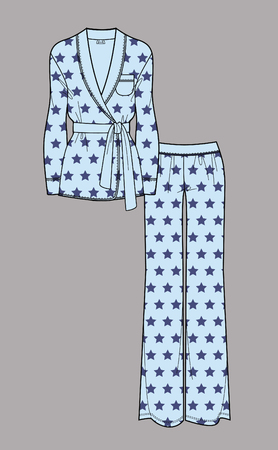 Star print pajamas. Cardigan and pants. Isolated vector. Ilustração