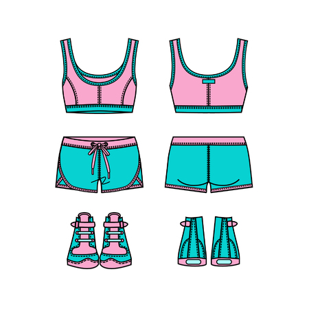 Women's sports suit and sneakers. Front and back views. Vector illustration. Isolated on white.