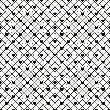 Seamless black lace pattern with hearts on white background. Vector illustration. Ilustração