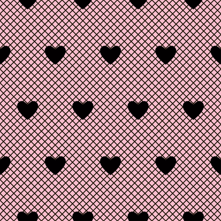 Seamless black lace pattern with hearts on pink background. Vector illustration.