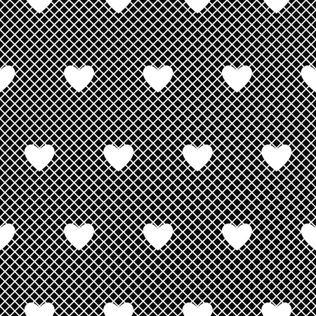 Seamless white lace pattern with hearts on black background. Vector illustration.