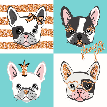 Glamour French bulldog. Vector set of cute bulldogs portraits with gold glittering accessories. Vector illustration.