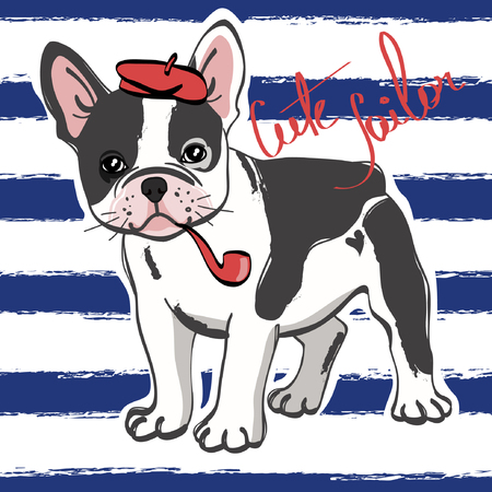 Cute french bulldog sailor on blue striped background. Vector illustration. Vettoriali