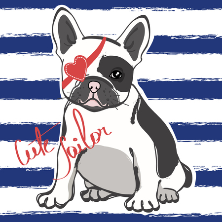 Cute french bulldog sailor on blue striped background. Vector illustration. Illusztráció
