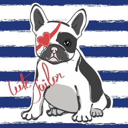 Marinaio sveglio del bulldog francese su fondo a strisce blu. Illustrazione vettoriale Archivio Fotografico - 97227346