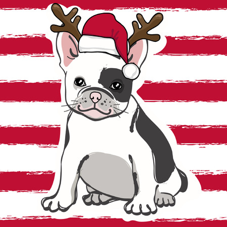 Cute french bulldog in Santa hat on red striped background. Vector illustration.
