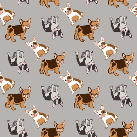 Seamless pattern with cute french bulldog. Vector illustration.