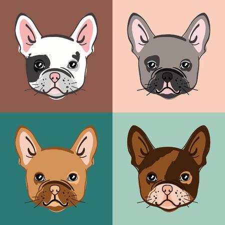 Bulldog francese. Insieme di vettore del viso del simpatico bulldog. Illustrazione vettoriale Archivio Fotografico - 97227354