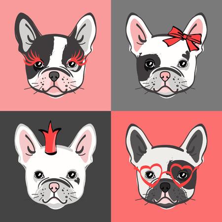 Bulldog francese. Insieme di vettore del volto di bulldog carino. Illustrazione vettoriale Archivio Fotografico - 97227356