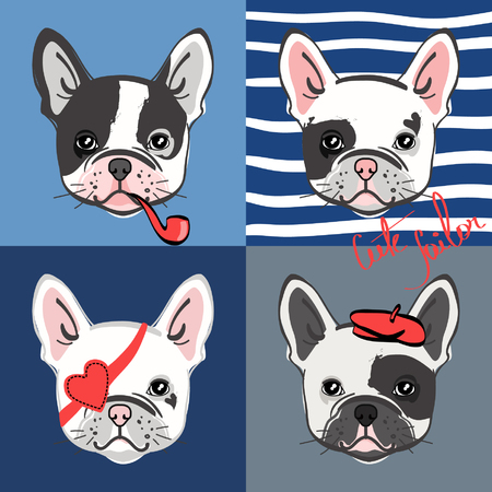 French bulldog. Vector set of cute bulldogs face. Vector illustration.