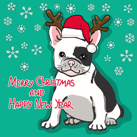 Christmas and Happy New Year card. Abstract card with cute french bulldog in santa hat and wishing text on green background. Vector illustration.