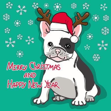 cute french bulldog in santa hat on red striped background vector rh 123rf com San Tan Bulldog San Tan Bulldog