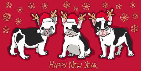 Happy New Year card. Abstract card with cute french bulldog in santa hat and wishing text on red background. Vector illustration Vettoriali