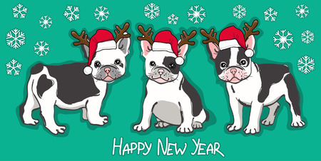 Happy New Year card. Abstract card with cute french bulldog in santa hat and wishing text on green background. Vector illustration