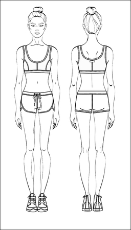 Female figure in sports wear: front and back. Sport outfit young woman vector illustration.