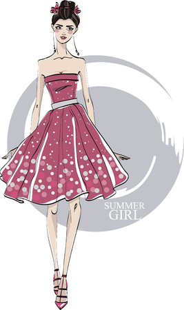Fashionable girl in red dress. Vector. Vettoriali