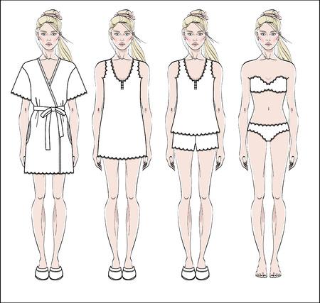 Set of women's homewear, sleepwear and underwear. Bathrobe, nightgown, pajama and lingerie on female figure. Vector illustration.