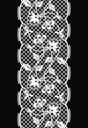 Lace. Vertical Seamless Pattern. Vector.