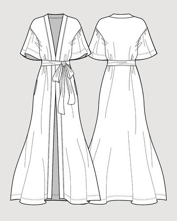 Bridal long robe. Sleeve satin maxi kimono robe. Silk bathrobe for women. Isolated vector. Front and back views.