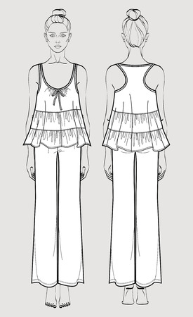 Silk pajama set on female figure. Romantic sleeve top and pants. Isolated vector. Front and back views. Vettoriali