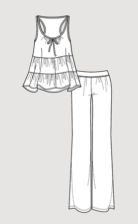 Silk pajama set. Romantic sleeve top and pants. Isolated vector. Vettoriali