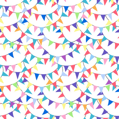 Seamless pattern with triangular flags. Vector pattern with bunting on white background. Holiday background for web design, greeting card and party decoration.