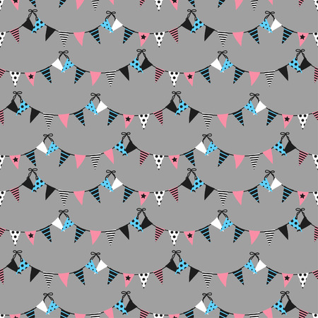Seamless pattern with triangular flags. Vector pattern with bunting on gray background. Holiday background for web design, greeting card and party decoration.