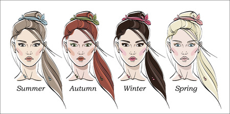 Seasonal color types for women skin beauty set: Summer, Autumn, Winter, Spring. Young female faces, make up shades matching each type. Vector illustration. Vettoriali