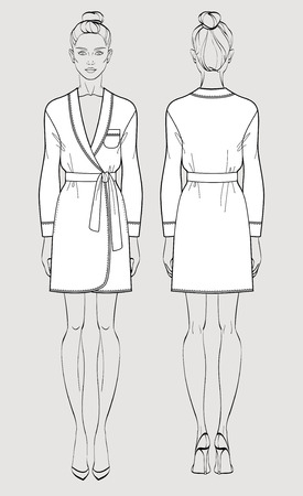 Silk bathrobe for women. Isolated vector. Front and back views.