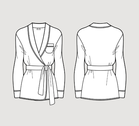 Silk cardigan. Isolated vector. Front and back views.