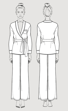 Silk pajama set for women. Cardigan and pants. Isolated vector. Front and back views.