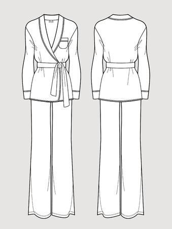 Silk pajama set. Cardigan and pants. Isolated vector. Front and back views.