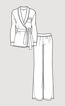 Silk pajama set. Cardigan and pants. Isolated vector. Vettoriali