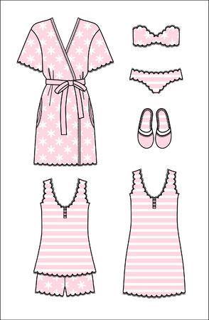 Set of women's homewear, sleepwear and underwear. Pink bathrobe, nightgown, pajama, slippers, bra and panty on white background. Vector illustration