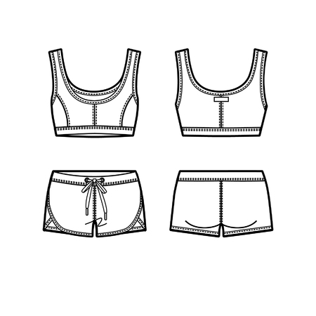 Blank women's sports suit in front and back views. Vector illustration. Isolated on white.