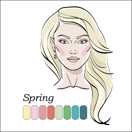 Seasonal Color Type For Women. Young Female Face Portrait, Make ...
