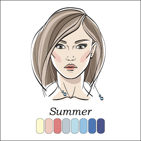 Seasonal color type for women. Young female face portrait, make up shades matching each type. Vector illustration. Color template.