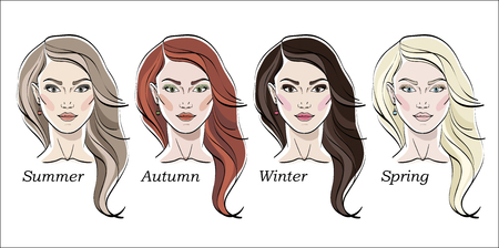Seasonal color types for women skin beauty set: Summer, Autumn, Winter, Spring. Young female faces, make up shades matching each type. Vector illustration. Ilustração