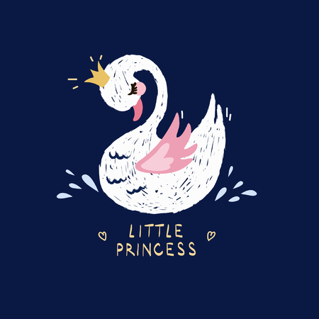Cute little princess swan on dark background. Cartoon hand drawn vector illustration. Can be used for fashion print design, kids wear, greeting and invitation card. Vettoriali