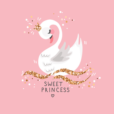 Sweet princess swan on pink background. Cartoon hand drawn vector illustration. Can be used for fashion print design, greeting and invitation card.