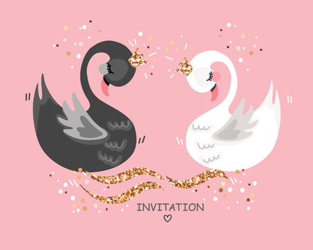 Wedding illustration with swans Save the date card. Wedding invitation. Greeting card.